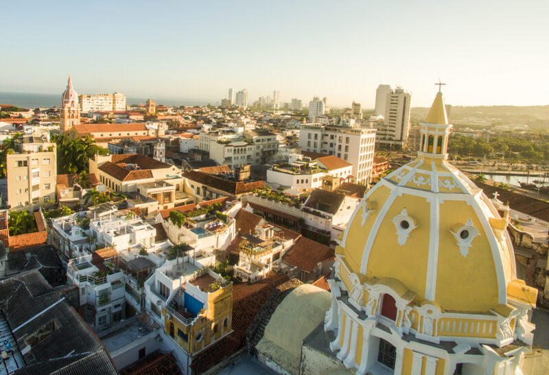 Cartagena's old town from the air