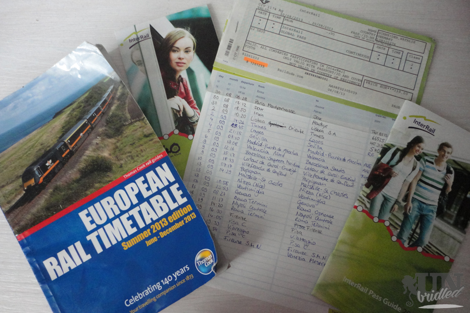 Interrail Ticket timetable guide for travelers in Europe