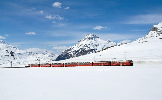 Traveling in the iconic Bernina Express in Switzerland