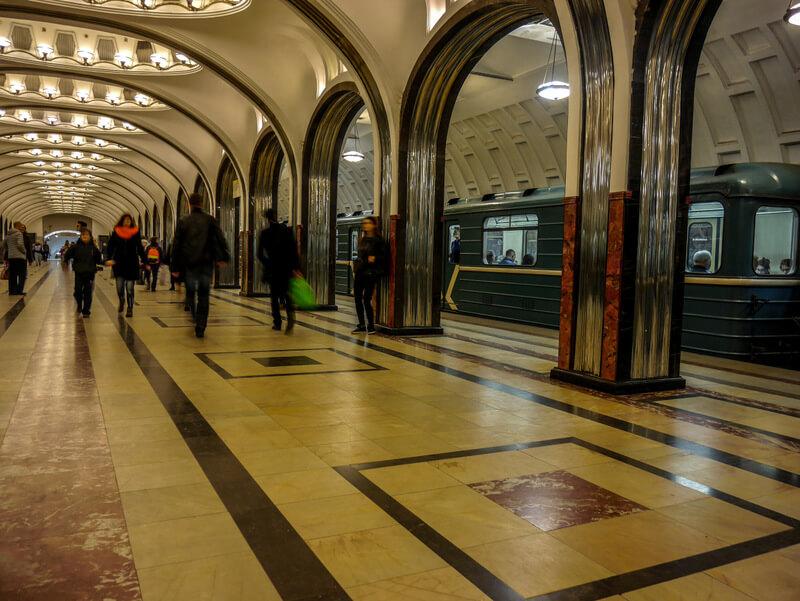 Mayakovskaya metro station in Moscow