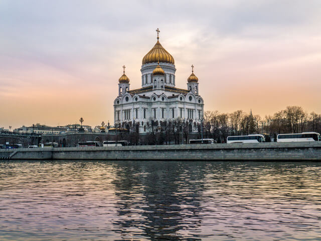 Cathedral of Christ the Saviour in Moscow at sunset