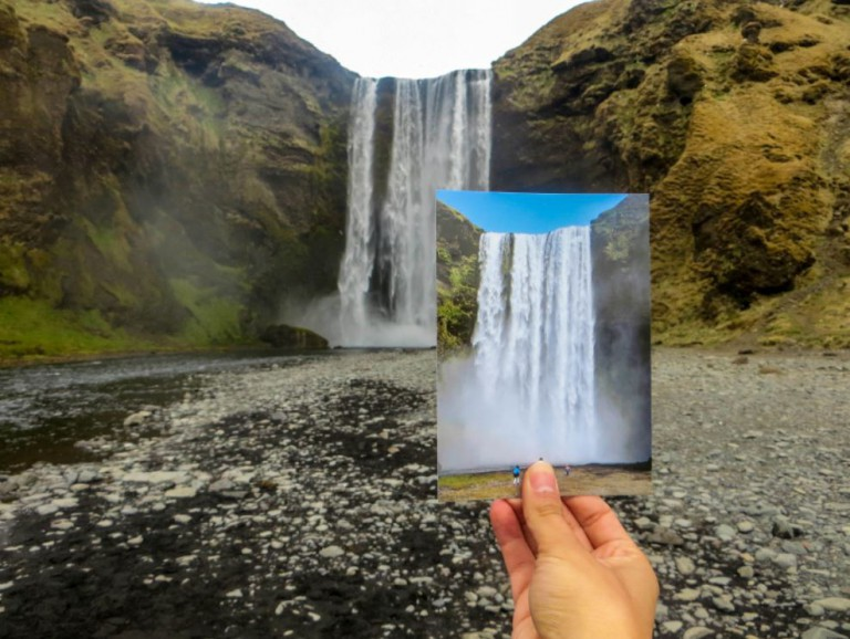 Skógafoss looks way more beautiful in real life than in a postcard