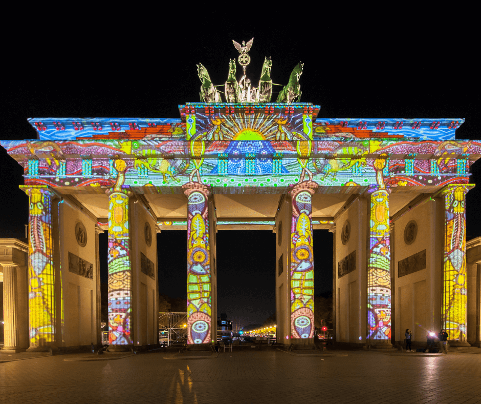 View of the Brandenburg Gate at the Festival of Lights