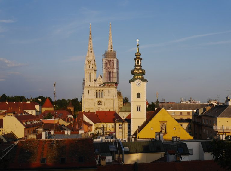 Zagreb Old Town in Croatia during sunset. View of the main church