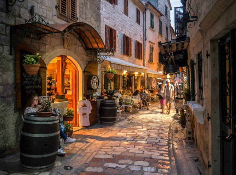Narrow streets at Kotor old town in Montenegro during sunset