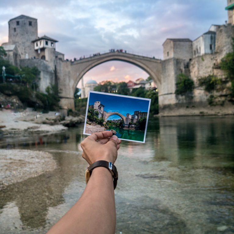Postcard of Mostar Old Bridge in Bosnia & Herzegovina at the Mostar Old Bridge
