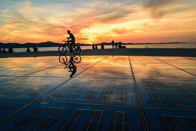 Sea organ in Zadar at Sunset