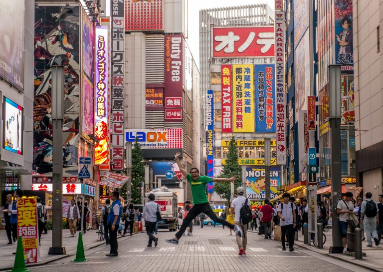 The Akibahara district is full with mangas, neon lights and video games.