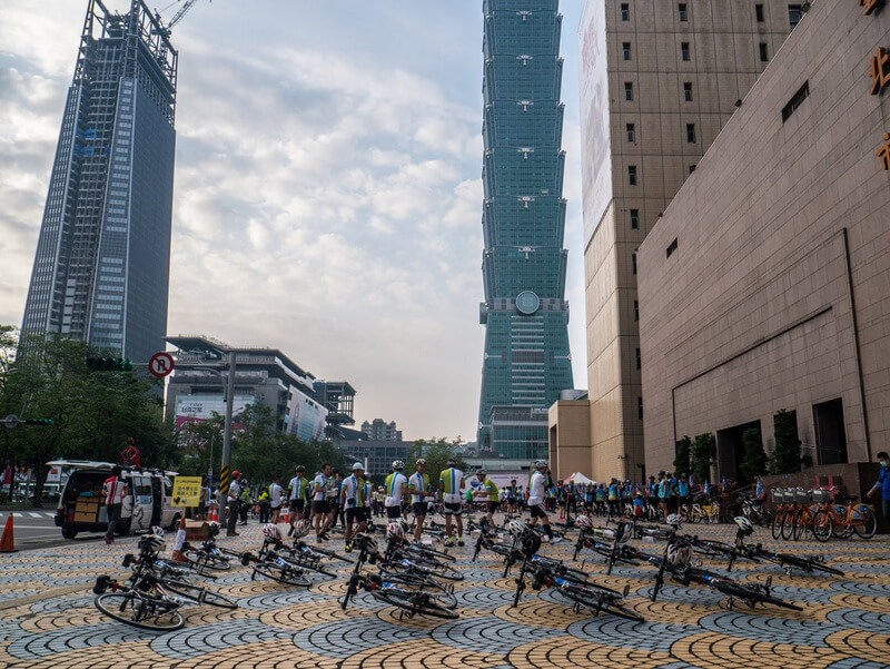 Bicycles at the starting line of the Formosa 900 in Taipei