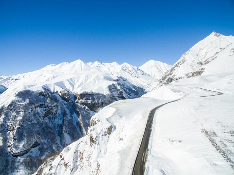 Highways in the Caucasus on a road trip in Georgia