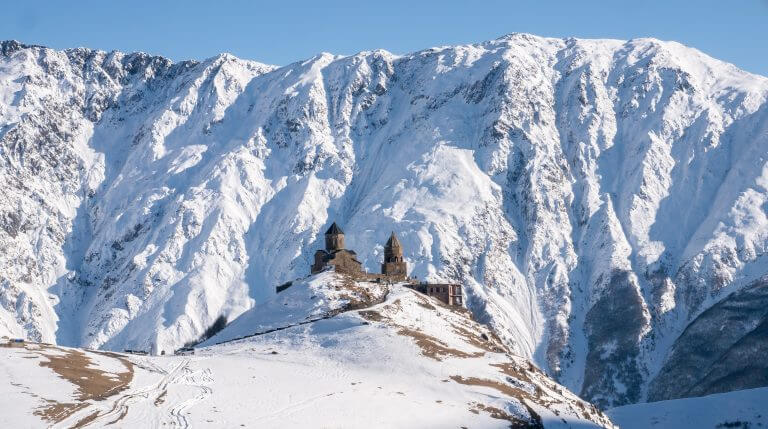 Gergeti Trinity Church during winter