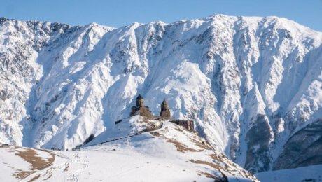 Gergeti Trinity Church in Winter - road-trip-georgia