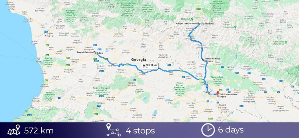Road trip map of Georgia