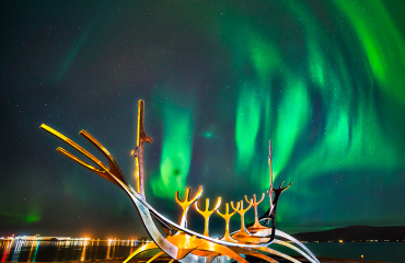 Northern lights in Reykavik during winter