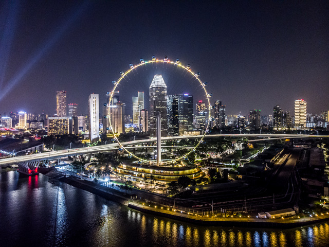 Night drone photography Singapore Flyer