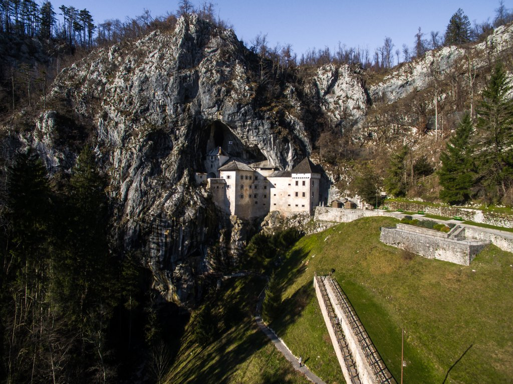 Aerial view of the Predjama Castle