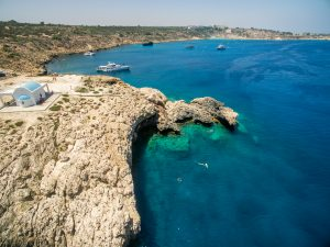 Aerial view of Ayia Napa and its colorful waters - Winter in Cyprus
