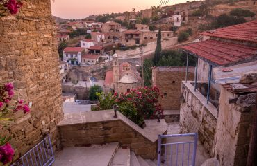 Tochni village during a winter evening in Cyprus