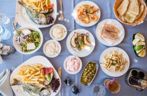 Traditional Meze in a Cypriot restaurant at the Southern coast - Winter in Cyprus
