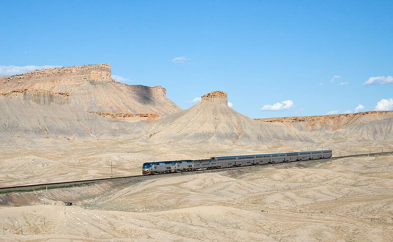 The California Zephyr crossing the landscapes of Utah on a clear day  Trans Siberian Express
