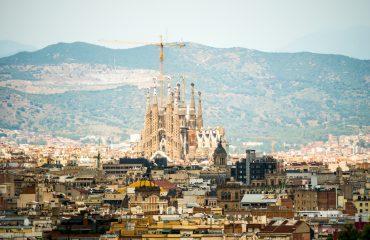Traveling Europe by train - Barcelona view of Sagrada Familia