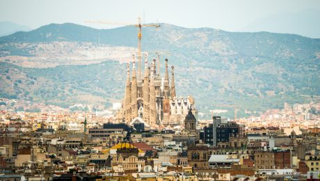 Traveling Europe by train - Barcelona view of Sagrada Familia