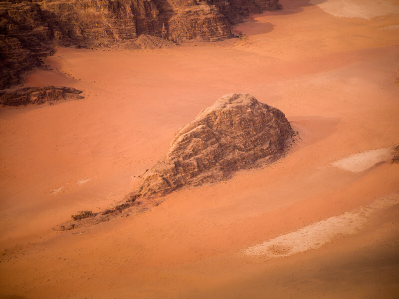 Aerial view of Wadi Rum from a hot air balloon