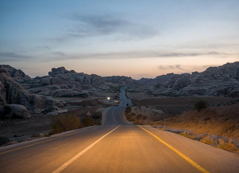 Highways in Jordan after sunset