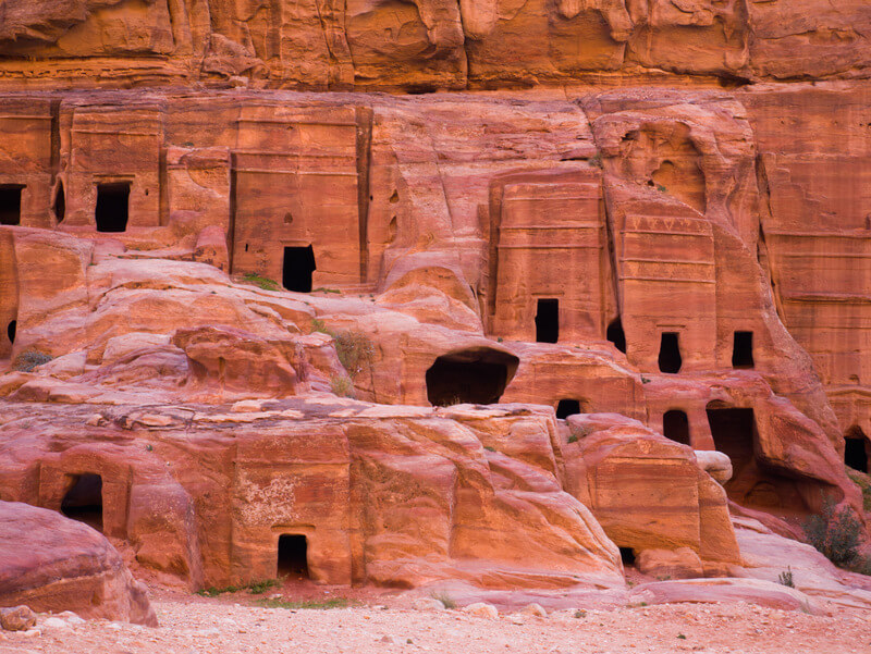 Old Bedouin houses inside Petra
