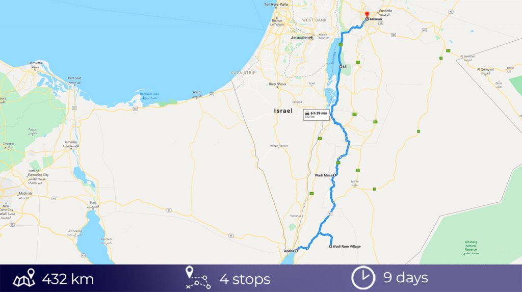 Road trip map of Jordan - Click to open in full size