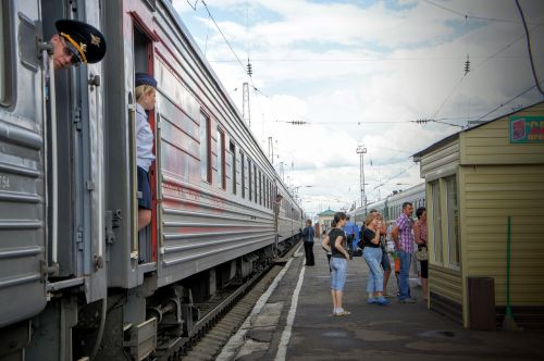 Trans Siberian Express Railway stopping for a short break