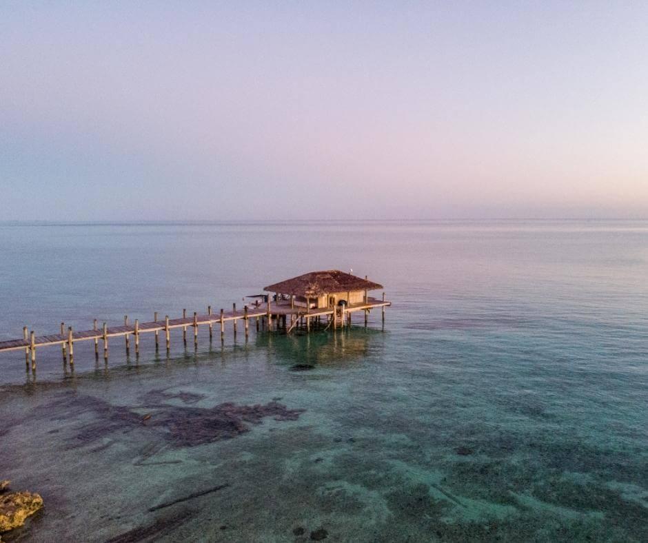 Diving Hut at the Small Bay Hope Lodge in Andros Bahamas