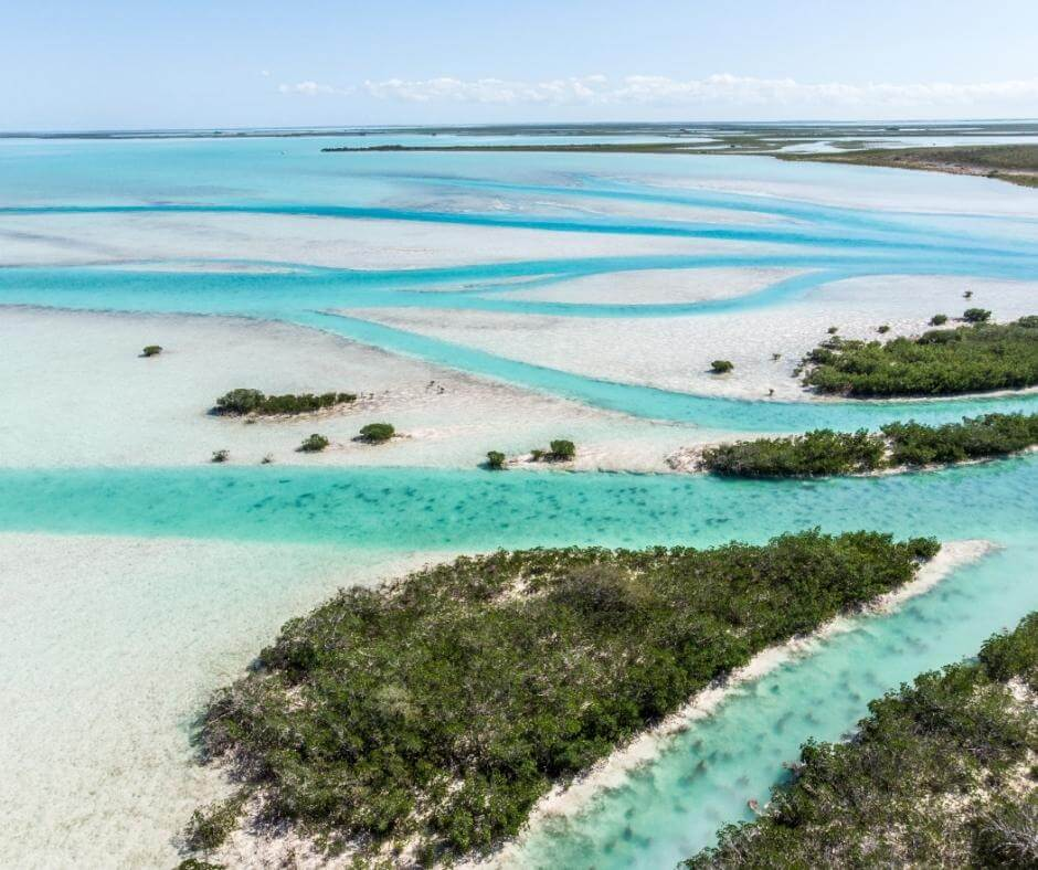 Aerial view West Side National Park in Andros, Bahamas