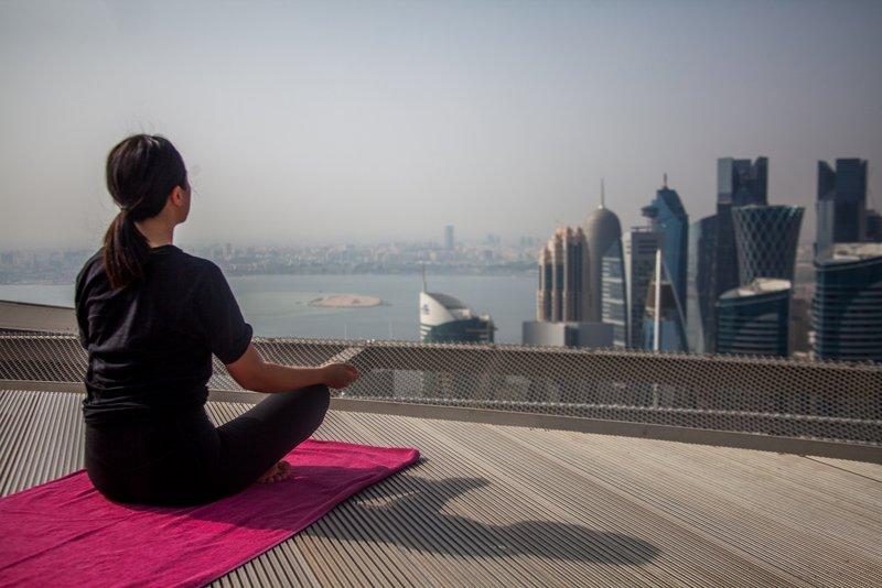 Tip to travel Qatar - Yoga at helipad of Shangri La in Doha