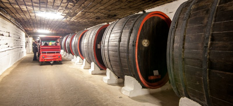 Cricova´s undeground tunnels while touring around the winery