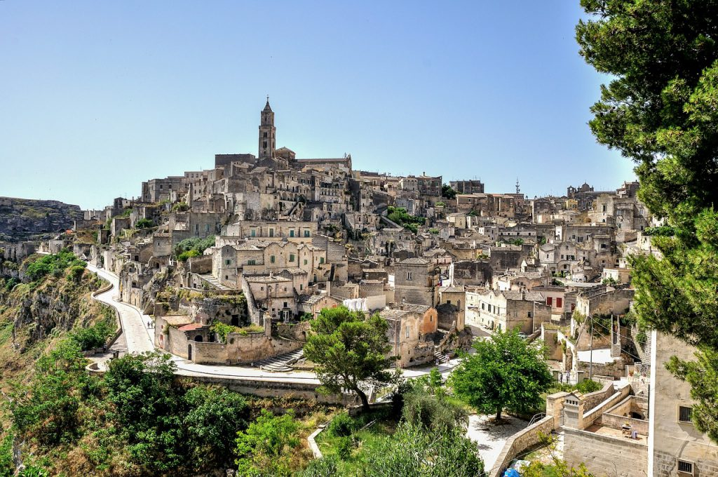 Matera is located in the top of hill.