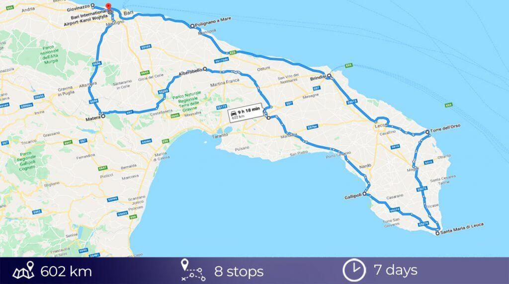 road trip map of Puglia