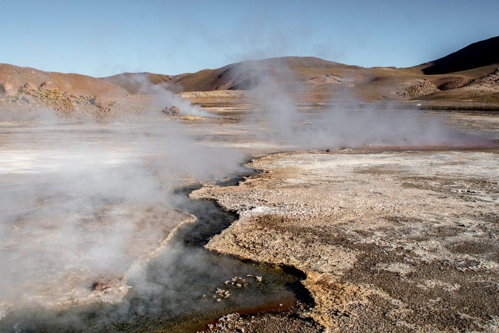 View of El Tatio geysers in Atacama early in the morning