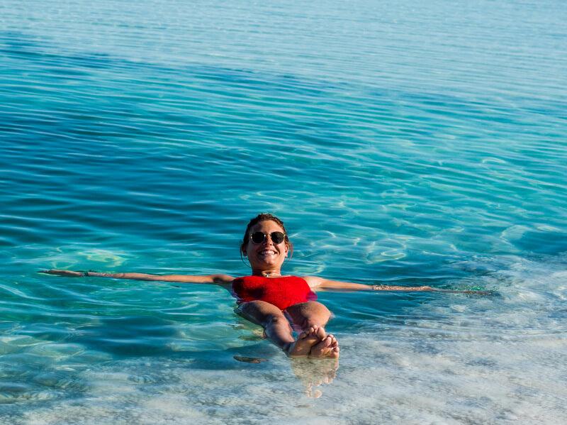Floating in the salt lagoon of Baltinache in Atacama