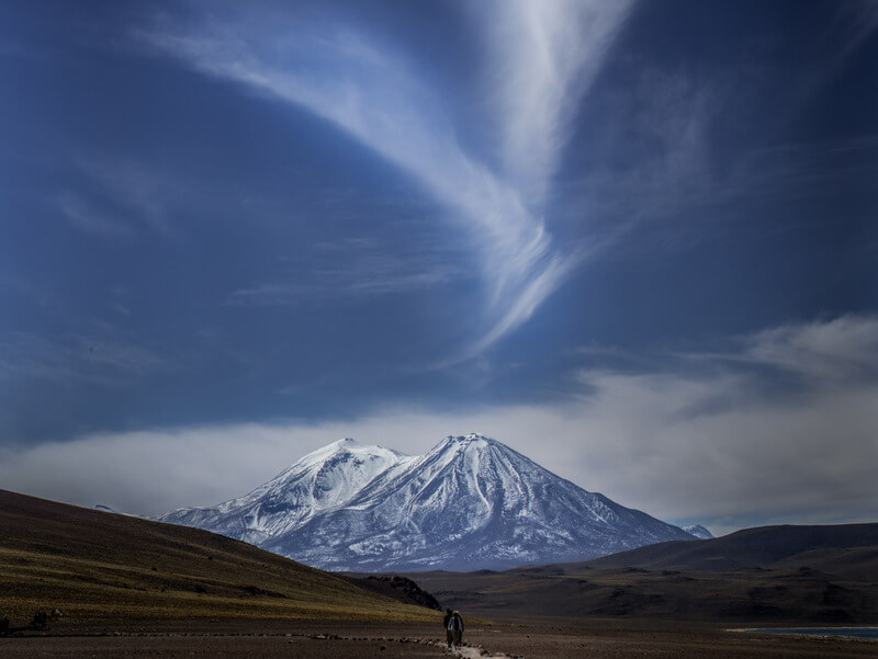View of Licancabur volcano at the Miscanti y Miñiques Lagoons in Atacama