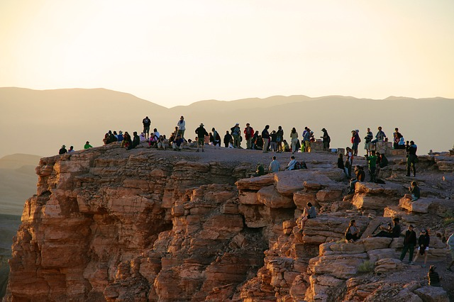 Visitors waiting for sunset at the Moon Valley