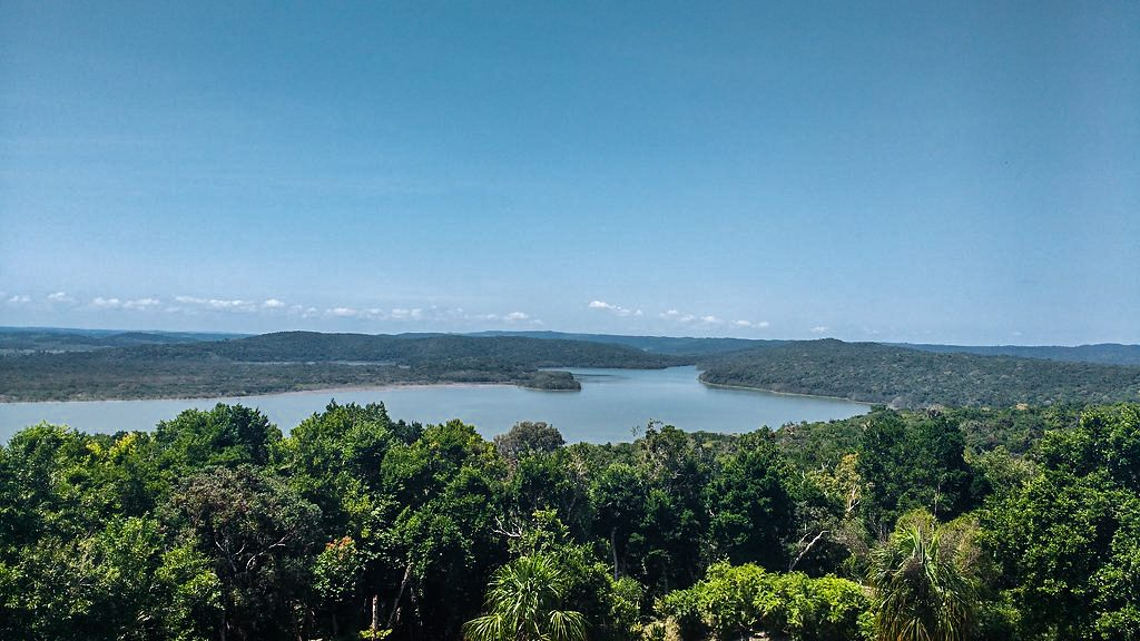 Views of the Yaxha Lake from one of the pyramids inside the National Park
