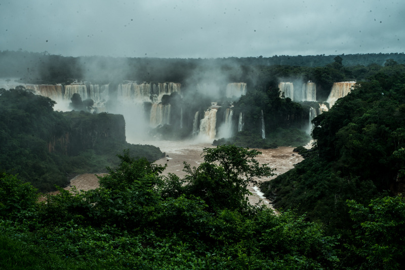 Iguacu Falls - the mighty waterfalls between Brazil and Argentina - view of the cataracts from the Brazilian side