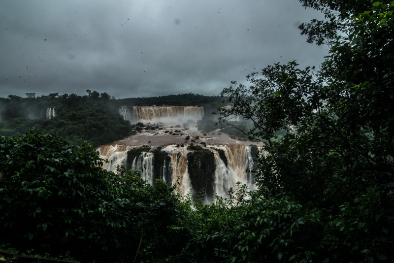 Iguacu Falls - the mighty waterfalls between Brazil and Argentina - view of cataracts in the jungle