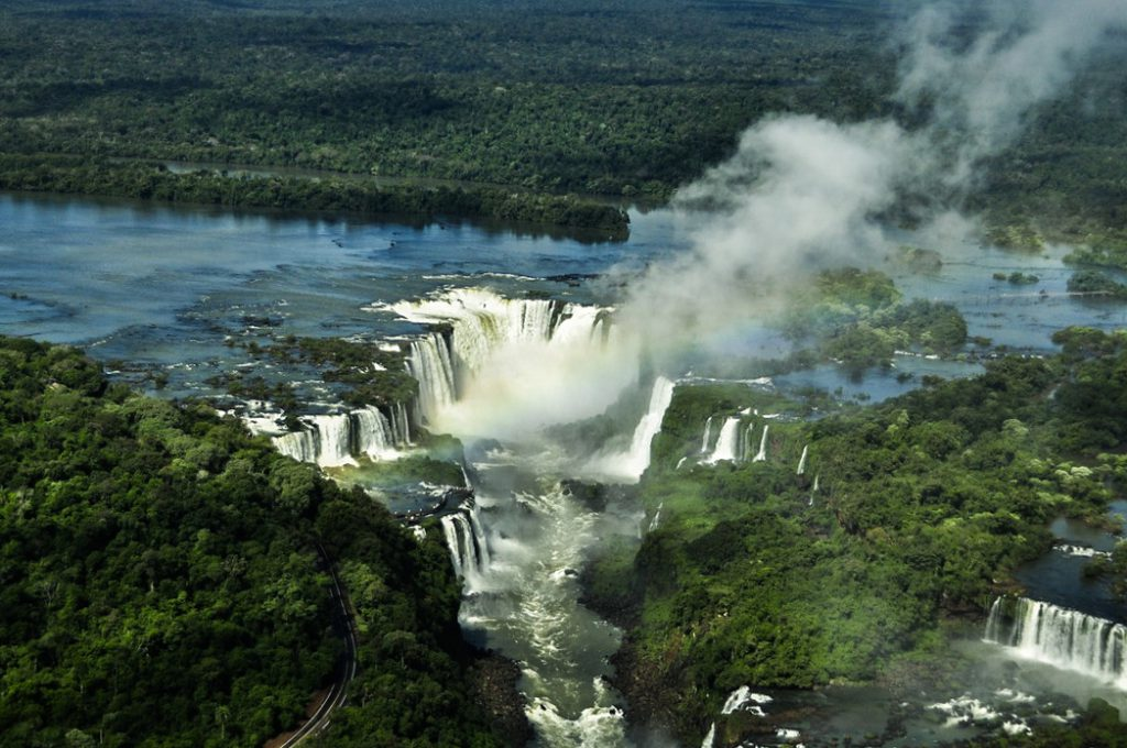 Iguacu Falls - the mighty waterfalls between Brazil and Argentina - aerial view of the cataracts from a helicopter
