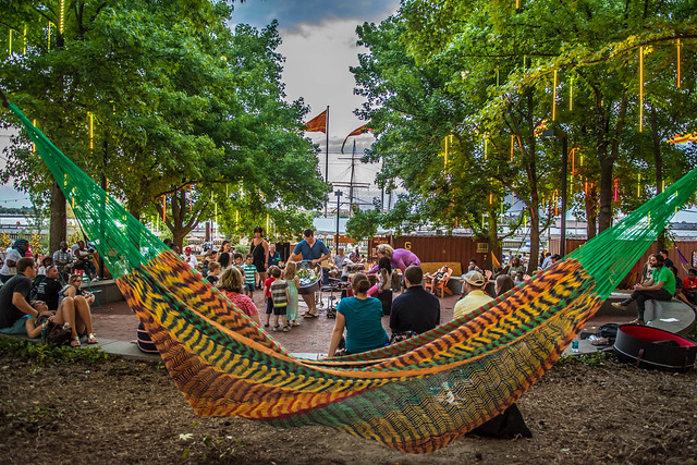 Hammocks at the Spruce Street Harbor Park. - food tours in Philadelphia