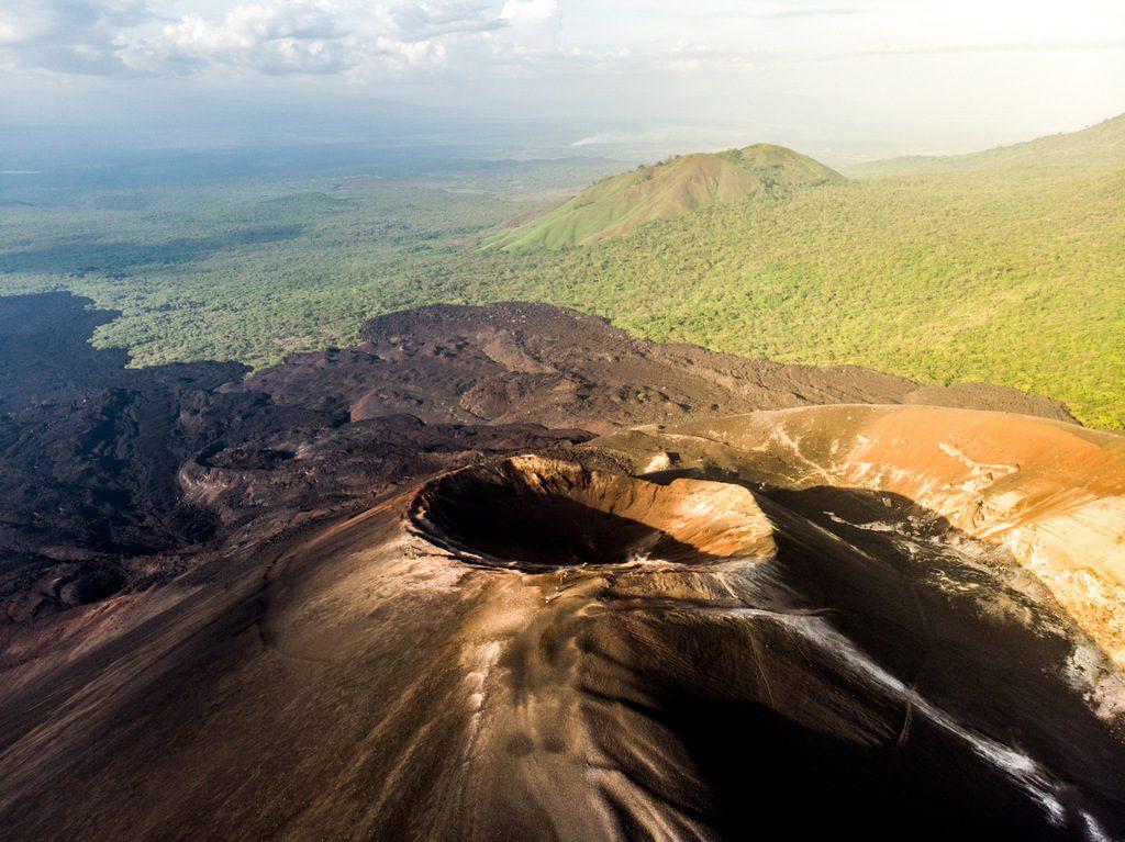 Aerial view of Cerro Negro during sunset - Volcanoes in Nicaragua