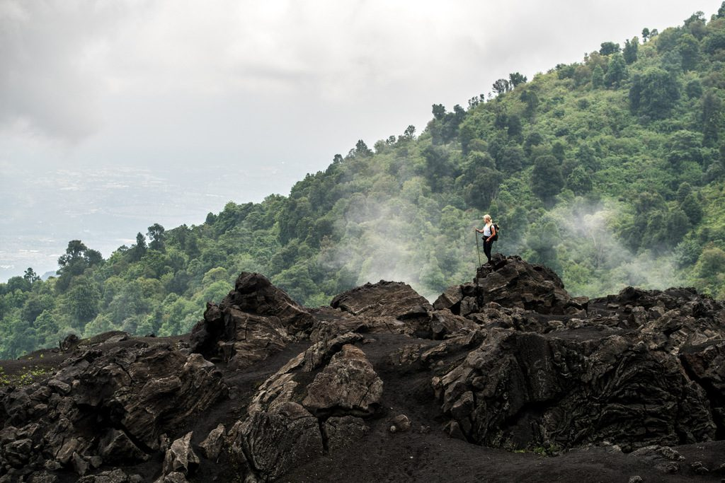 Mix of tropical forest and volcanic rock at Pacaya´s base