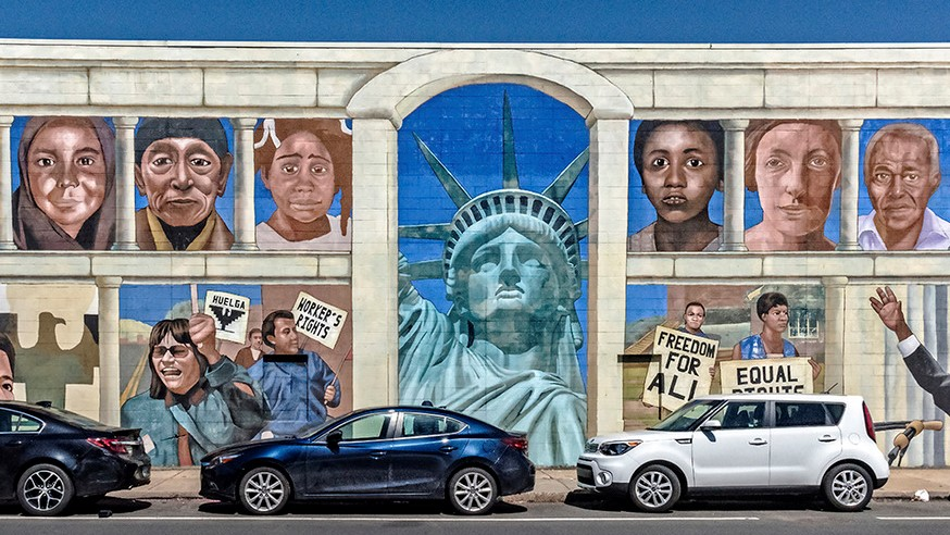 A  section of the 180 m length mural History of Inmigration - street art in Philadelphia