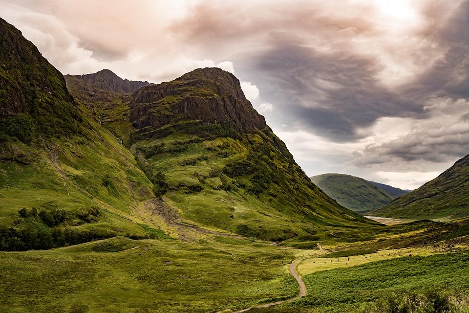 View of Glencoe Valley in Scotland
